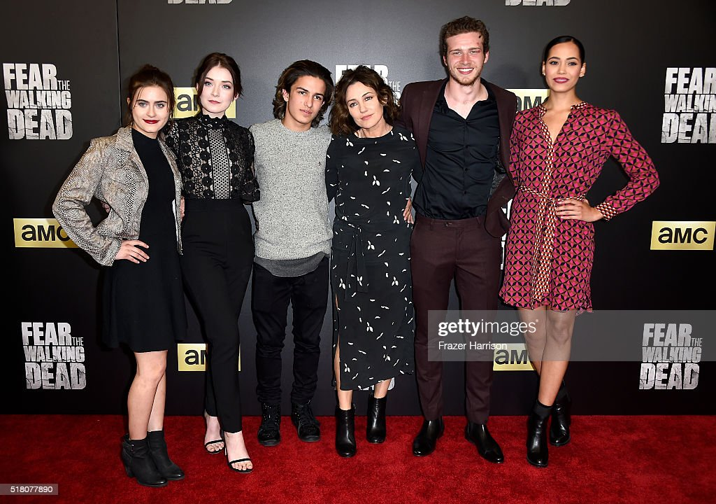 Actors Ally Ioannides, Sarah Bolger, Aramis Knight, Orla Brady, Oliver Stark and Madeleine Mantock attend the premiere of AMC's 'Fear The Walking Dead' Season 2 at Cinemark Playa Vista on March 29, 2016 in Los Angeles, California.