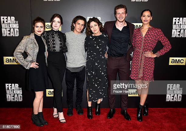 Actors Ally Ioannides Sarah Bolger Aramis Knight Orla Brady Oliver Stark and Madeleine Mantock attend the premiere of AMC's Fear The Walking Dead...