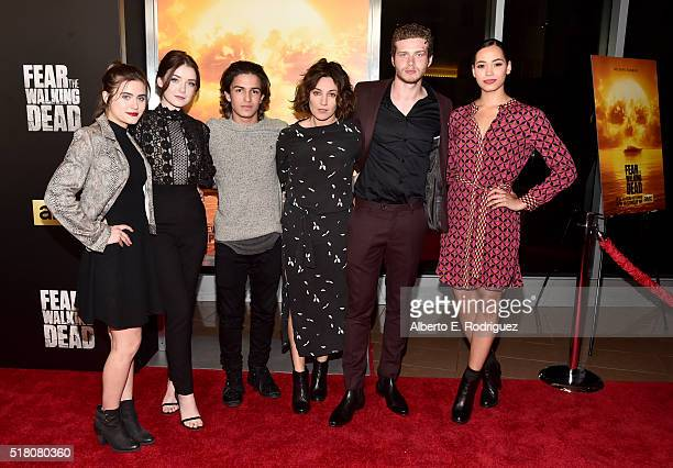 Actors Ally Ioannides Sarah Bolger Aramis Knight Orla Brady Oliver Stark and Madeleine Mantock attend the premiere of AMC's 'Fear The Walking Dead'...