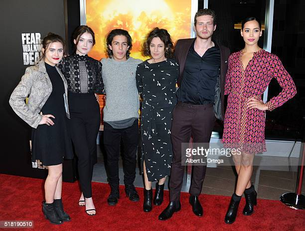 Actors Ally Ioannides Sarah Bolger Aramis Knight Orla Brady Oliver Stark and Madeleine Mantock arrive for the Premiere Of AMC's 'Fear The Walking...