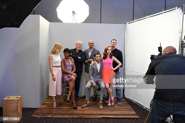 "Actors Alona Tal Emayatzy Corinealdi Ron Perlman producer Ben Watkins actors Julian Morris Heather Ann Davis and Garret Dillahunt of ""Hand of God""..."