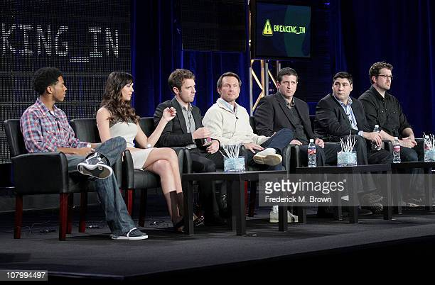 Actors Alphonso McAuley Odette Yustman Bret Harrison Christian Slater producers Doug Robinson Adam F Goldberg and Seth Gordon speaks onstage during...