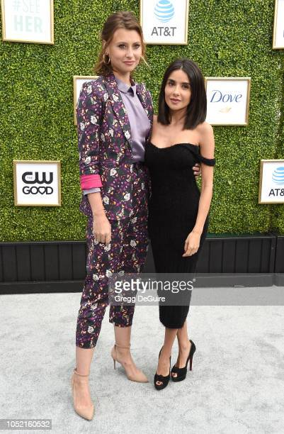 Actors Aly Michalka and Mikaela Hoover arrive at The CW Network's Fall Launch Event at Warner Bros. Studios on October 14, 2018 in Burbank,...