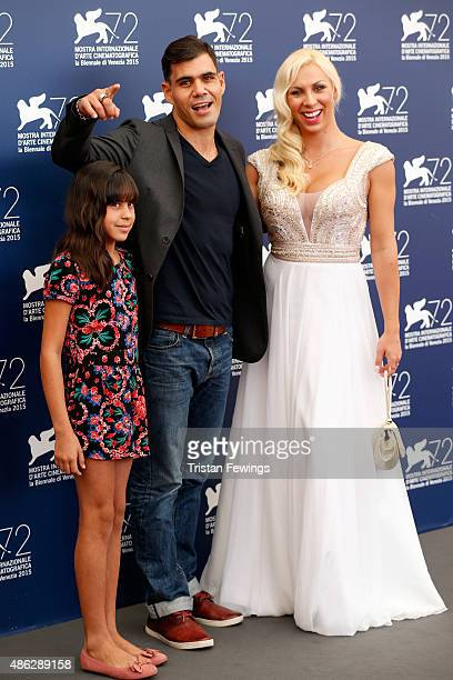Actors Alyne Santana Juliano Cazarre and Abigail Pereira attend a photocall for 'Neon Bull' during the 72nd Venice Film Festival at Palazzo del...