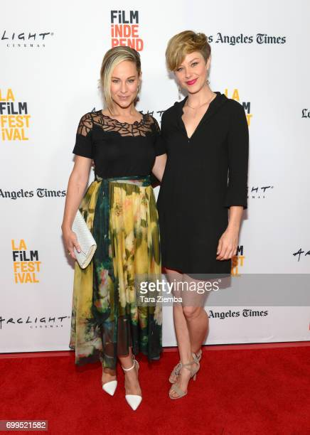 """Actors Alyshia Ochse and Jaimi Paige attend the screening of """"Desolation"""" during the 2017 Los Angeles Film Festival at Arclight Cinemas Culver City..."""
