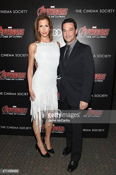 Actors Alysia Reiner and David Alan Basche attend The Cinema Society Audi screening of Marvel's Avengers Age of Ultron at SVA Theater on April 28...