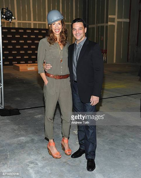 Actors Alysia Reiner and David Basche attend the SAG Foundation breaks ground on Actors Center Signature Space at 247 West 54th Street In New York on...