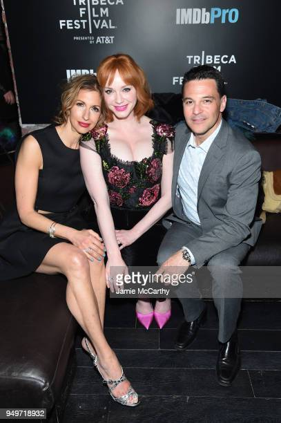 Actors Alysia Reiner Christina Hendricks and David Alan Basche attend the 2018 Tribeca Film Festival after party for 'Egg' hosted by the IMDbPro App...