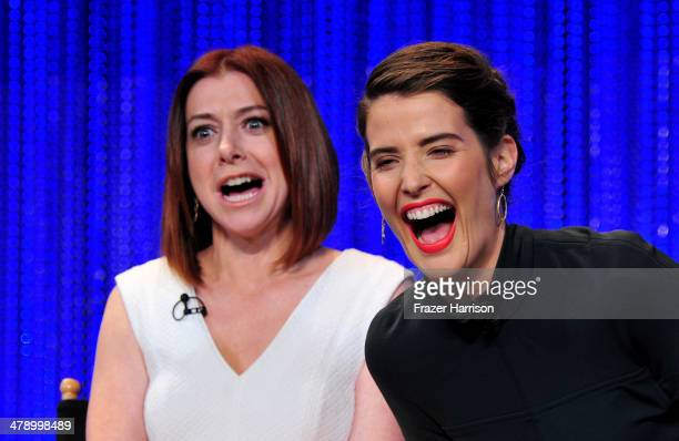"Actors Alyson Hannigan and Cobie Smulders on stage at The Paley Center For Media's PaleyFest 2014 Honoring ""How I Met Your Mother"" Series Farewell at..."