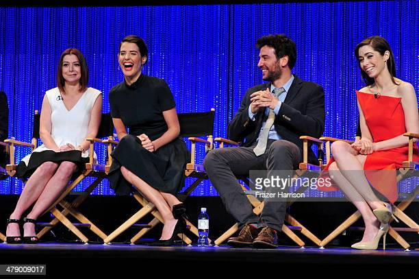 Actors Alyson Hannigan Cobie Smulders Josh Radnor and Christin Milloti on stage at The Paley Center For Media's PaleyFest 2014 Honoring How I Met...