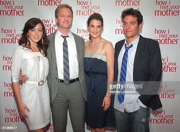 Actors Alyson Hannigan Neil Patrick Harris Cobie Smulders and Josh Radnor attend the Academy Screening of 'How I Met Your Mother' at the bar that...