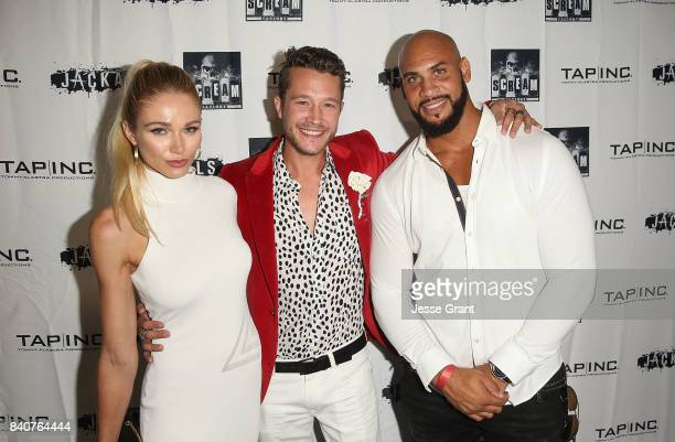 Actors Alyssa Julya Smith Nick Roux and Jason Scott Jenkins attend the Los Angeles Premiere of 'Jackals' on August 29 2017 in Hollywood California