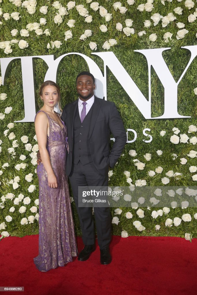 Actors Alyssa Kempinski (L) and Okieriete Onaodowan attend the 71st Annual Tony Awards at Radio City Music Hall on June 11, 2017 in New York City.