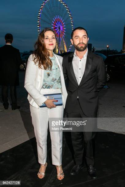 Actors Alysson Paradis and Guillaume Gouix arrive to attend the 'Madame Figaro' dinner at Automobile Club de France on April 5 2018 in Paris France