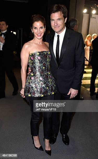 Actors Amanda Anka and Jason Bateman attend the 2015 Vanity Fair Oscar Party hosted by Graydon Carter at the Wallis Annenberg Center for the...