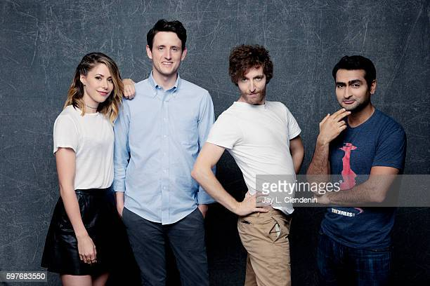 Actors Amanda Crew Zach Woods Thomas Middleditch and Kumail Nanjiani of 'Silicon Valley' are photographed for Los Angeles Times at San Diego Comic...