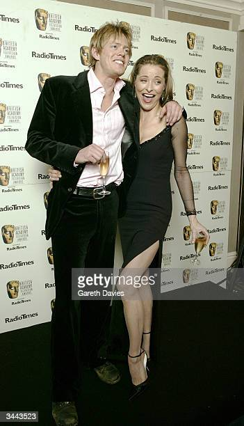 Actors Amanda Donahoe and Kris Marshall pose in the pressroom following The British Academy Television Awards at the Grosvenor House Hotel on April...