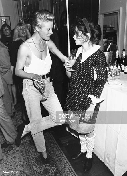 Actors Amanda Donohoe and Helena BonhamCarter chatting at the launch party for Elle Magazine London September 8th 1988