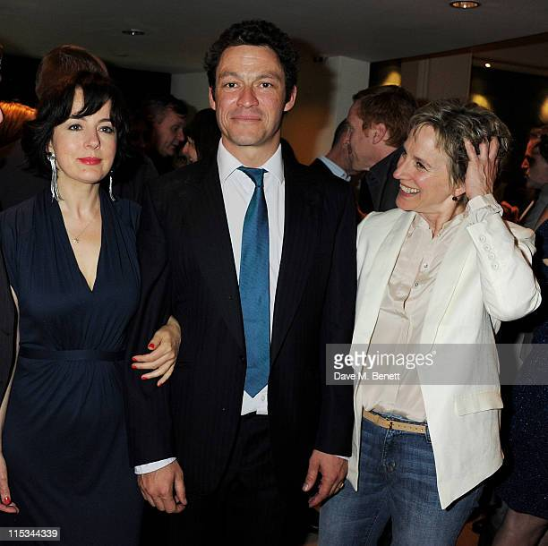 Actors Amanda Drew, Dominic West and Penny Downie attend an after party following press night of the new West End production of Simon Gray's Butley...