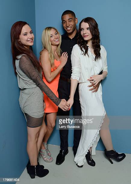 Actors Amanda Grace Cooper Brooke Butler Tom Williamson and Sianoa SmitMcPhee of 'All Cheerleaders Die' pose at the Guess Portrait Studio during 2013...