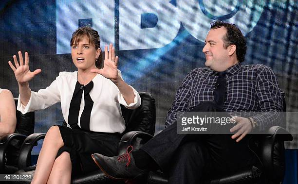 "Actors Amanda Peet and Steve Zissis speak onstage during ""Togetherness"" panel as part of the 2015 HBO Winter Television Critics Association press..."