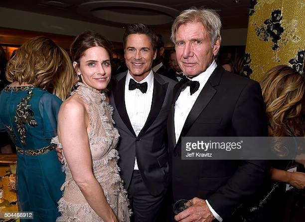 Actors Amanda Peet Rob Lowe and Harrison Ford attend HBO's Official Golden Globe Awards After Party at The Beverly Hilton Hotel on January 10 2016 in...