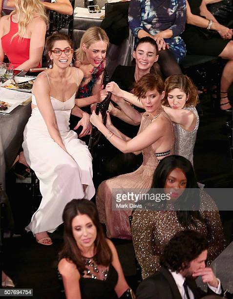 Actors Amanda Peet Sarah Paulson Rooney Mara Kate Mara and Carrie Brownstein attend The 22nd Annual Screen Actors Guild Awards at The Shrine...