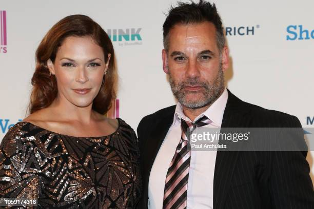 Actors Amanda Righetti and Adrian Pasdar attend the18th Annual Discovery Award dinner at the Skirball Cultural Center on November 7 2018 in Los...