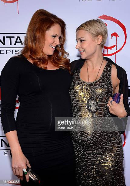 Actors Amanda Righetti and Samaire Armstrong attend CBS's 'The Mentalist' 100th Episode Celebration held at The Edison on October 13 2012 in Los...