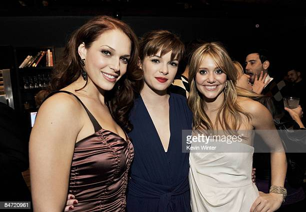 Actors Amanda Righetti Danielle Panabaker and Julianna Guill pose at the afterparty for the premiere of Warner Bros' Friday The 13th at My House on...