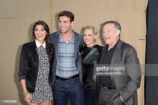 Actors Amanda Setton James Wolk Sarah Michelle Gellar and Robin Williams arrive at the CW CBS and Showtime 2013 summer TCA party on July 29 2013 in...