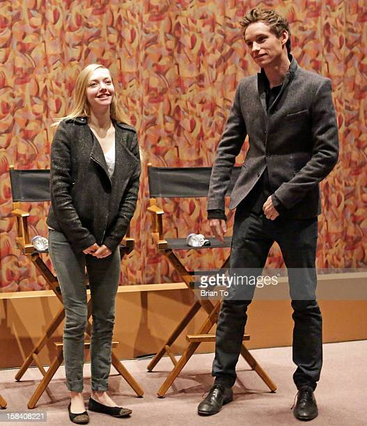 Actors Amanda Seyfried and Eddie Redmayne attend SAG special screening and QA of 'Les Miserables' at Writers Guild Theater on December 15 2012 in...