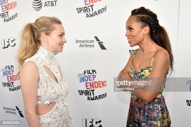 Actors Amanda Seyfried and Kerry Washington attend the 2018 Film Independent Spirit Awards on March 3 2018 in Santa Monica California