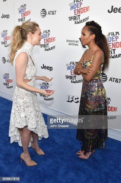 Actors Amanda Seyfried and Kerry Washington attends the 2018 Film Independent Spirit Awards on March 3 2018 in Santa Monica California