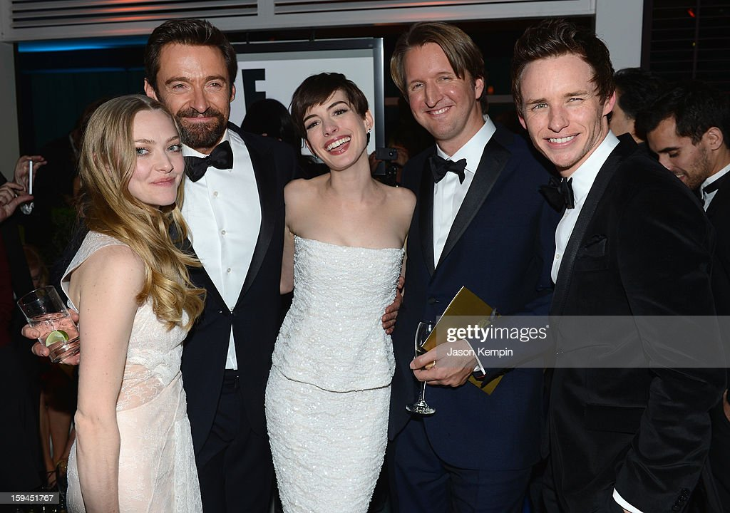 Actors Amanda Seyfried, Hugh Jackman, Anne Hathaway, director Tom Hooper and actor Eddie Redmayne attends the NBCUniversal Golden Globes viewing and after party held at The Beverly Hilton Hotel on January 13, 2013 in Beverly Hills, California.