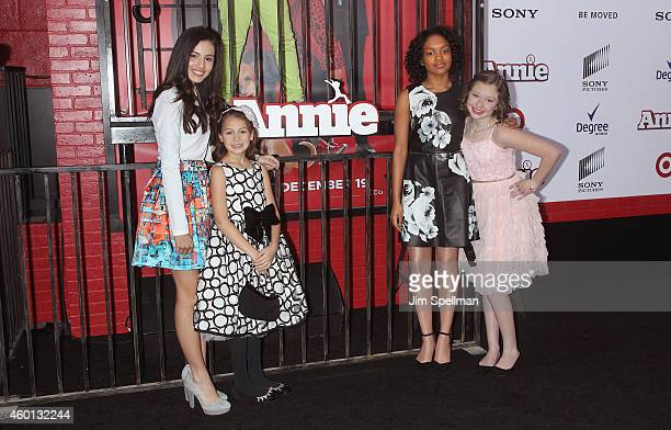 Actors Amanda Troya Nicolette Pierini Eden DuncanSmith and Zoe Margaret Colletti attend the 'Annie' world premiere at Ziegfeld Theater on December 7...