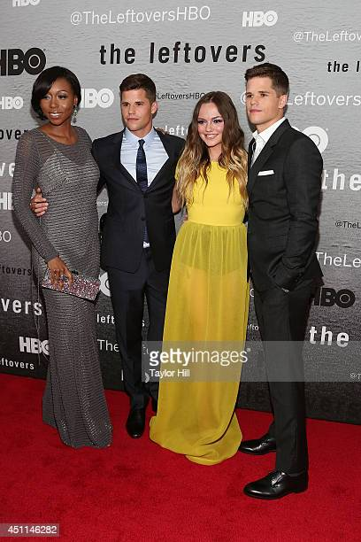 Actors Amanda Warren Charlie Carver Emily Meade and Max Carver attend 'The Leftovers' premiere at NYU Skirball Center on June 23 2014 in New York City