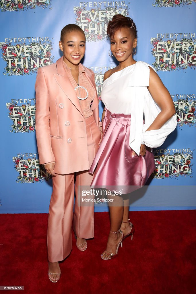 Actors Amandla Stenberg (L) and Anika Noni Rose attend the 'Everything, Everything' New York Screening at The Metrograph on April 30, 2017 in New York City.