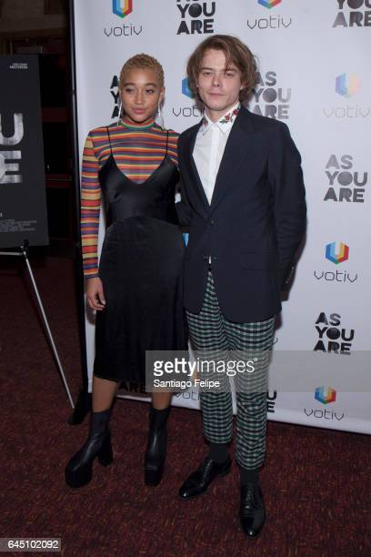 """Actors Amandla Stenberg and Charlie Heaton attend """"As You Are"""" New York Premiere at Village East Cinema on February 24, 2017 in New York City."""