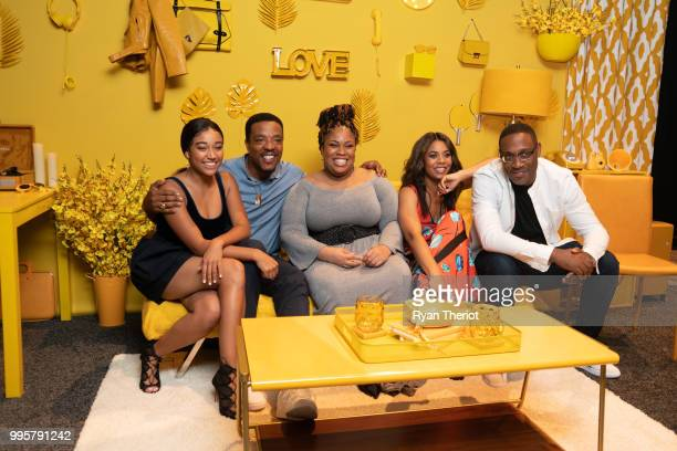 """Actors Amandla Stenberg and Russel Hornsby author Angie Thomas actor Regina Hall and director George Tillman Jr during """"The Hate U Give"""" cast and..."""