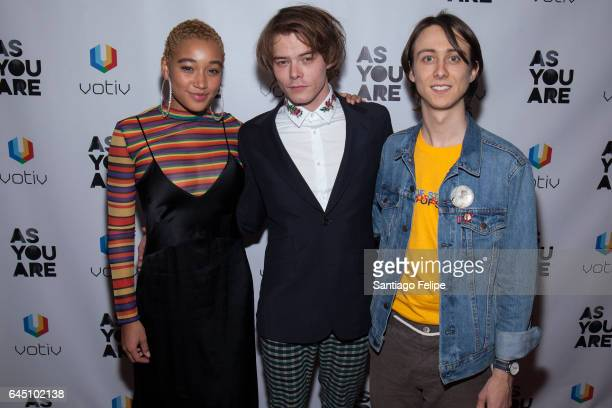 """Actors Amandla Stenberg, Charlie Heaton and Owen Campbell attend """"As You Are"""" New York Premiere at Village East Cinema on February 24, 2017 in New..."""