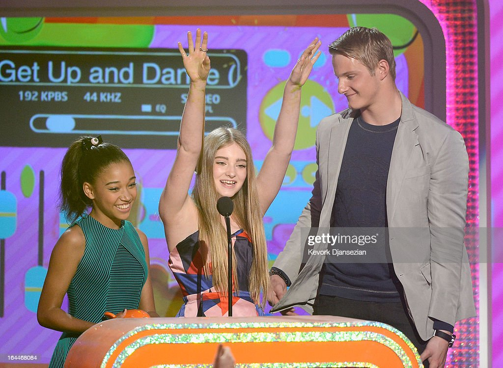 Actors Amandla Stenberg, Willow Shields and Alexander Ludwig accept Favorite Movie award for 'The Hunger Games' onstage during Nickelodeon's 26th Annual Kids' Choice Awards at USC Galen Center on March 23, 2013 in Los Angeles, California.