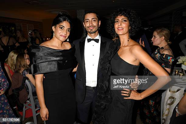 Actors Amara Karan Riz Ahmed and Poorna Jagannathan attend HBO's Official Golden Globe Awards After Party at Circa 55 Restaurant on January 8 2017 in...