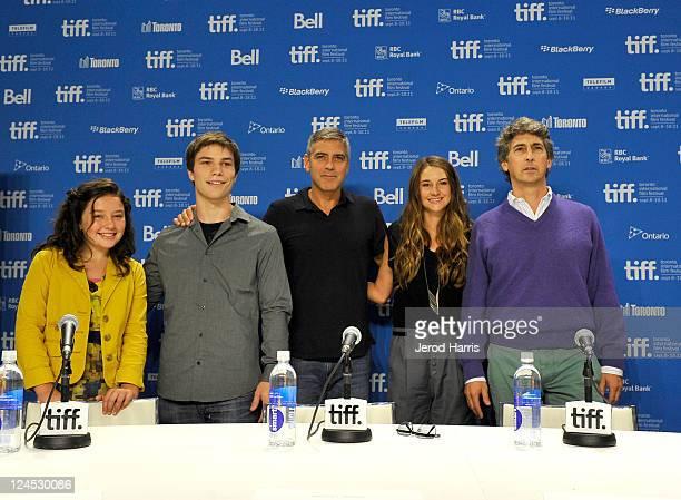 Actors Amara Miller Nick Krause George Clooney Shailene Woodley and Director Alexander Payne speak at The Descendents Press Conference at TIFF Bell...