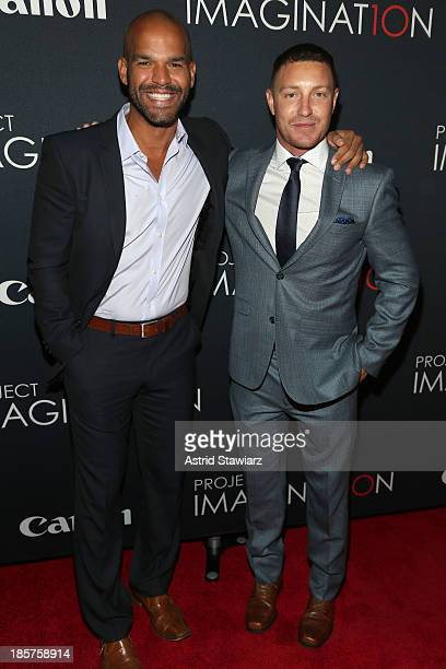 Actors Amaury Nolasco and Lane Garrison attend the Premiere Of Canon's Project Imaginat10n Film Festival at Alice Tully Hall on October 24, 2013 in...