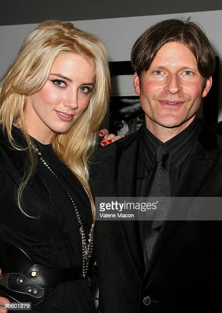 Actors Amber Heard and Crispin Glover attend The Tasya Van Ree Art Exhibit hosted by Amber Heard on February 11 2010 in Beverly Hills California