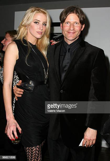 Actors Amber Heard and Crispin Glover attend The Tasya Van Ree Art Exhibit hosted by Amber Heard on February 11, 2010 in Beverly Hills, California.
