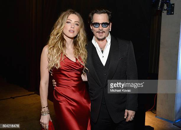 Actors Amber Heard and Johnny Depp attend The Art of Elysium 2016 HEAVEN Gala presented by Vivienne Westwood & Andreas Kronthaler at 3LABS on January...