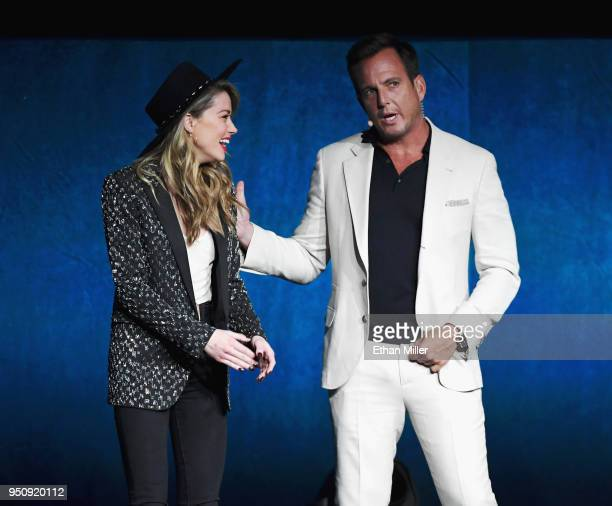 Actors Amber Heard and Will Arnett speak onstage during CinemaCon 2018 Warner Bros Pictures Invites You to 'The Big Picture' an Exclusive...