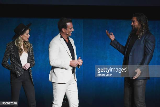 """Actors Amber Heard Will Arnett and Jason Momoa speak onstage during CinemaCon 2018 Warner Bros Pictures Invites You to """"The Big Picture"""" an Exclusive..."""